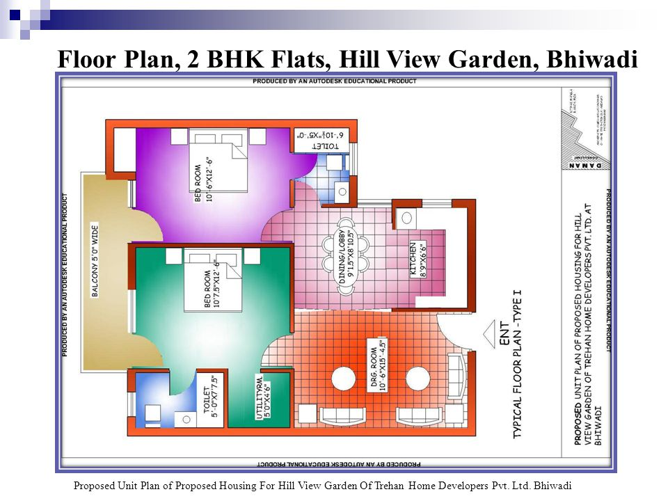 Floor Plan, 2 BHK Flats, Hill View Garden, Bhiwadi Proposed Unit Plan of Proposed Housing For Hill View Garden Of Trehan Home Developers Pvt.