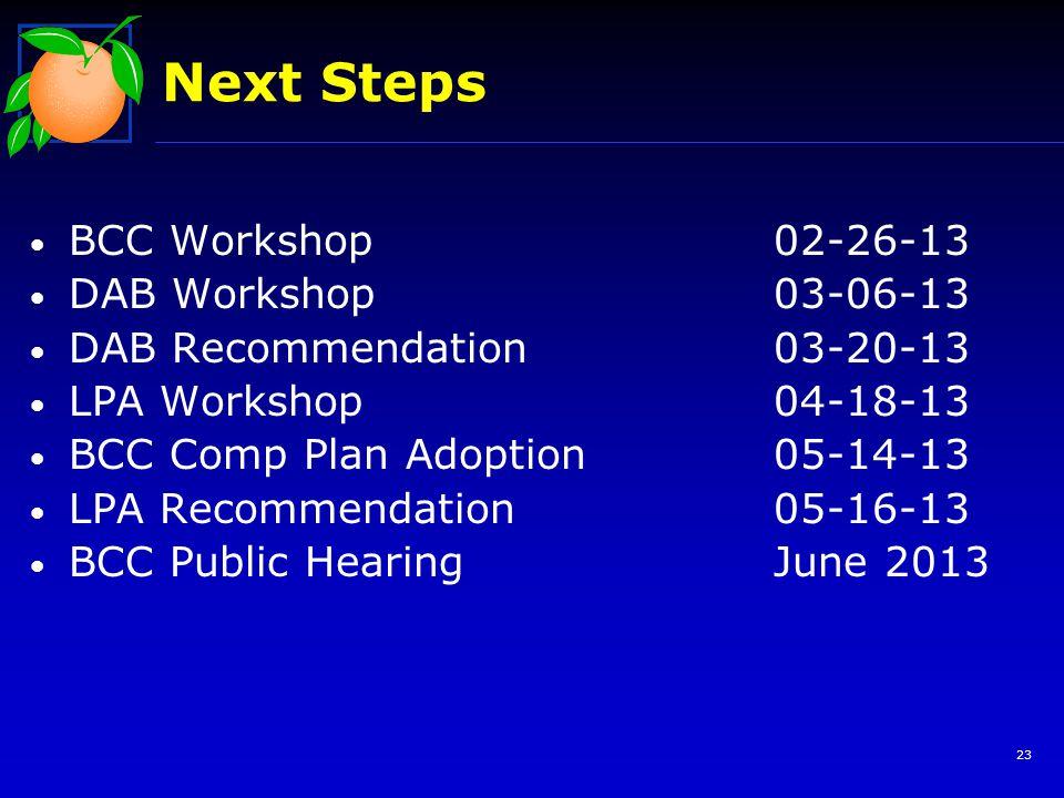 Next Steps BCC Workshop 02-26-13 DAB Workshop03-06-13 DAB Recommendation03-20-13 LPA Workshop04-18-13 BCC Comp Plan Adoption05-14-13 LPA Recommendation05-16-13 BCC Public HearingJune 2013 23