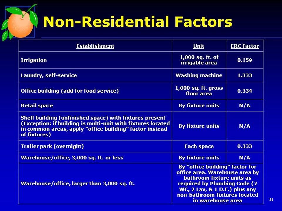 Non-Residential Factors 31 EstablishmentUnitERC Factor Irrigation 1,000 sq.