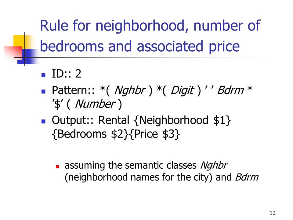 12 Rule for neighborhood, number of bedrooms and associated price ID:: 2 Pattern:: *( Nghbr ) *( Digit ) ' ' Bdrm * '$' ( Number ) Output:: Rental {Ne