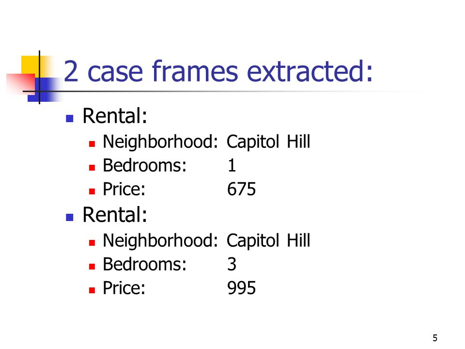 5 2 case frames extracted: Rental: Neighborhood: Capitol Hill Bedrooms: 1 Price: 675 Rental: Neighborhood: Capitol Hill Bedrooms: 3 Price: 995