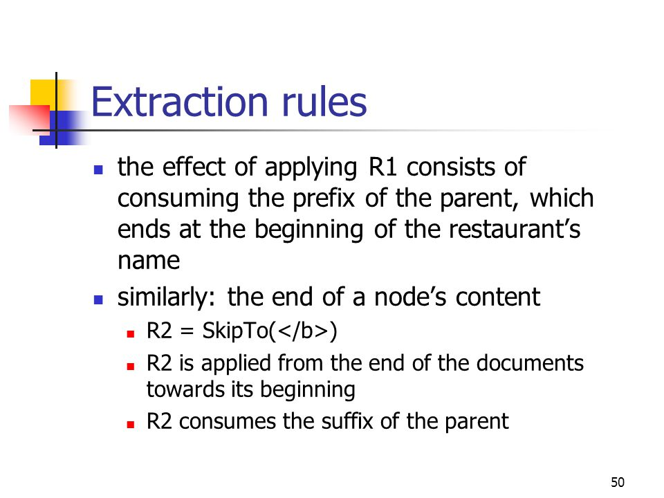 50 Extraction rules the effect of applying R1 consists of consuming the prefix of the parent, which ends at the beginning of the restaurant's name sim