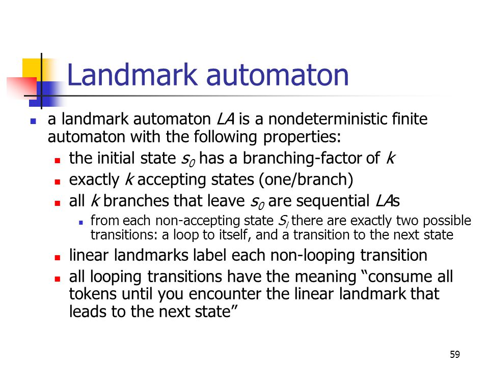 59 Landmark automaton a landmark automaton LA is a nondeterministic finite automaton with the following properties: the initial state s 0 has a branch