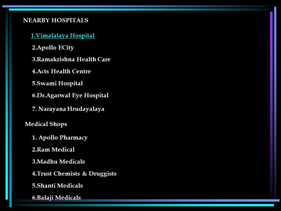 NEARBY HOSPITALS 1.Vimalalaya Hospital 2.Apollo ECity 3.Ramakrishna Health Care 4.Acts Health Centre 5.Swami Hospital 6.Dr.Agarwal Eye Hospital1.Vimalalaya Hospital 7.