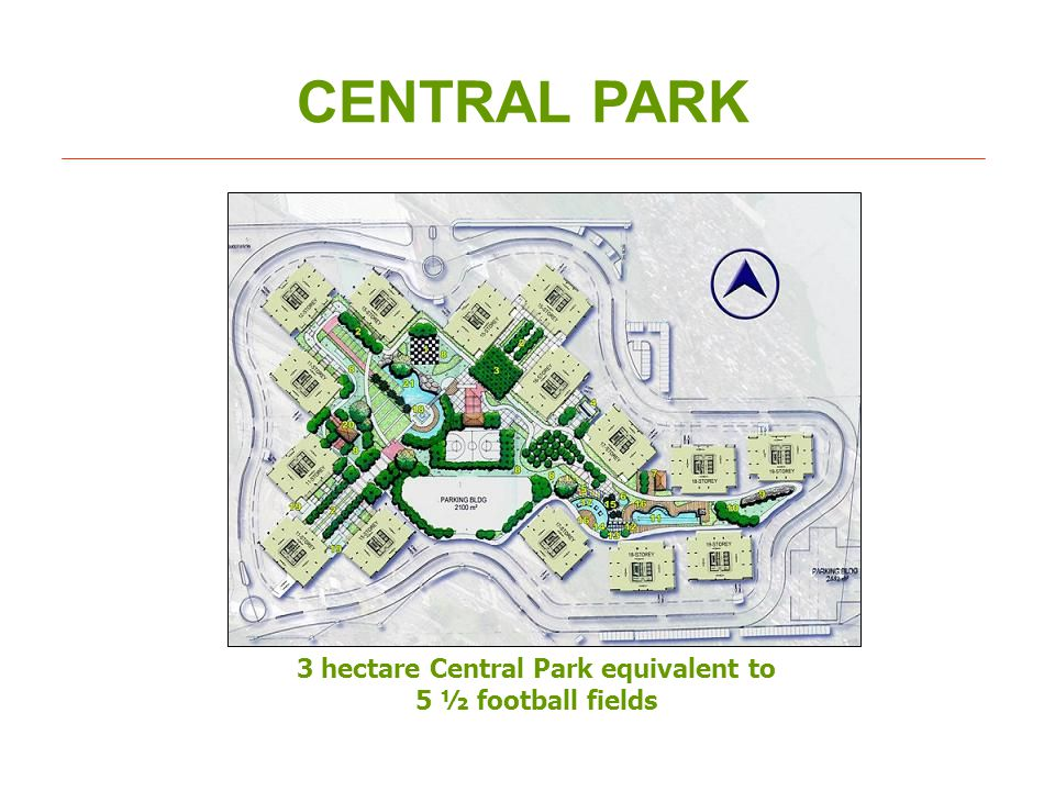 CENTRAL PARK 3 hectare Central Park equivalent to 5 ½ football fields