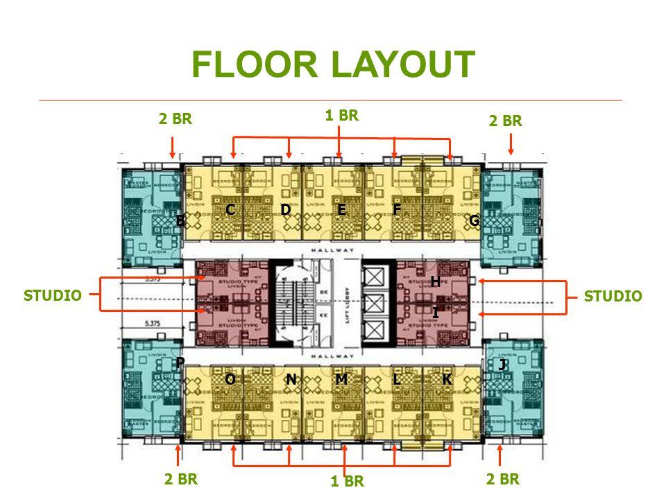 FLOOR LAYOUT 2 BR 1 BR 2 BR STUDIO 2 BR 1 BR 2 BR B CDEF G H I J KLMNO P STUDIO