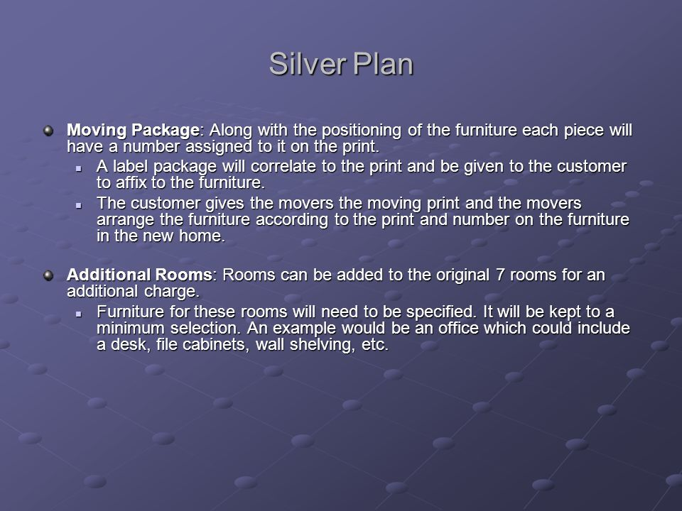 Silver Plan Moving Package: Along with the positioning of the furniture each piece will have a number assigned to it on the print.