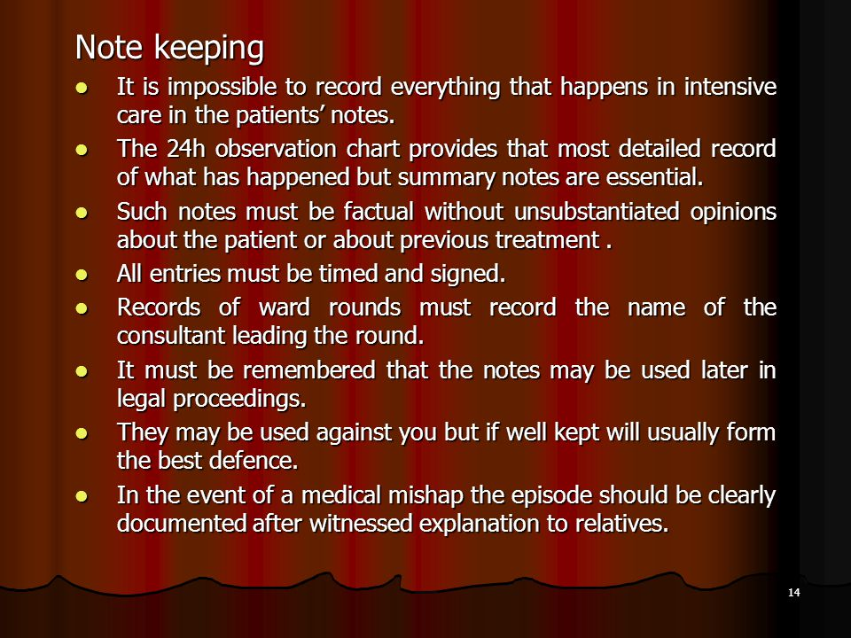 14 Note keeping It is impossible to record everything that happens in intensive care in the patients' notes. It is impossible to record everything tha