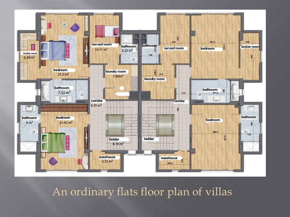An ordinary flats floor plan of villas
