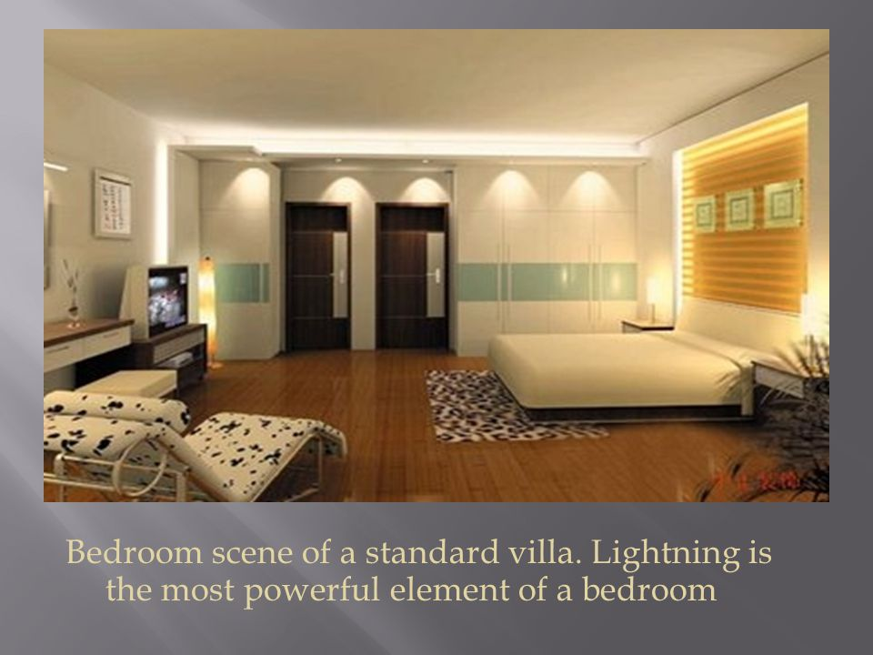 Bedroom scene of a standard villa. Lightning is the most powerful element of a bedroom