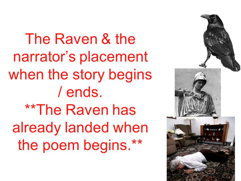 The Raven & the narrator's placement when the story begins / ends.