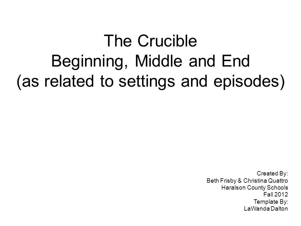 The Crucible Beginning, Middle and End (as related to settings and episodes) Created By: Beth Frisby & Christina Quattro Haralson County Schools Fall 2012 Template By: LaWanda Dalton