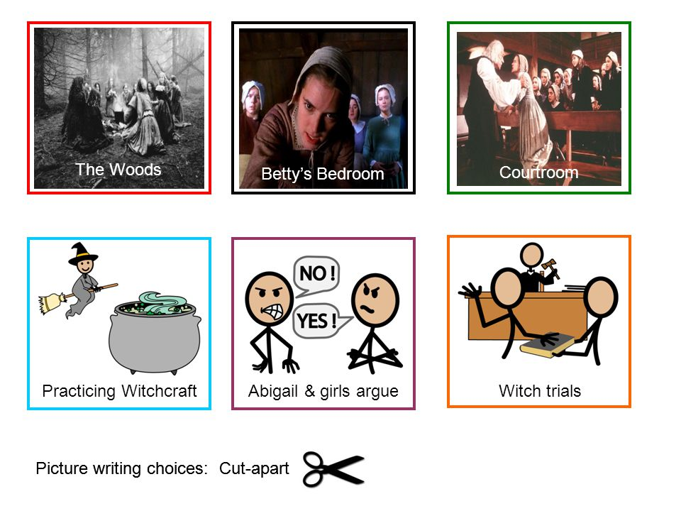 Picture writing choices: Cut-apart The Woods Practicing Witchcraft Betty's Bedroom Abigail & girls argue Courtroom Witch trials
