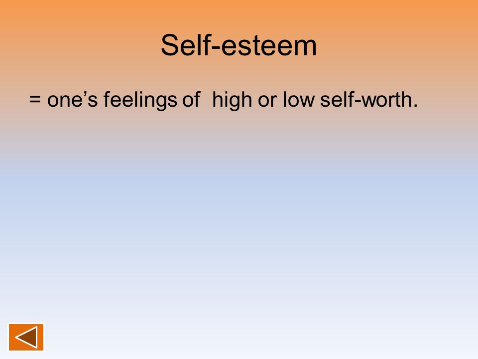 Self-esteem = one's feelings of high or low self-worth.