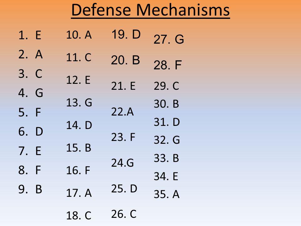 Defense Mechanisms 1.E 2.A 3.C 4.G 5.F 6.D 7.E 8.F 9.B 10.