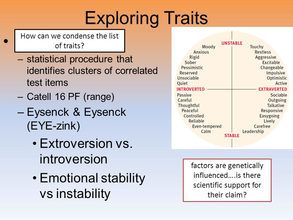 Exploring Traits Factor analysis –statistical procedure that identifies clusters of correlated test items –Catell 16 PF (range) –Eysenck & Eysenck (EY