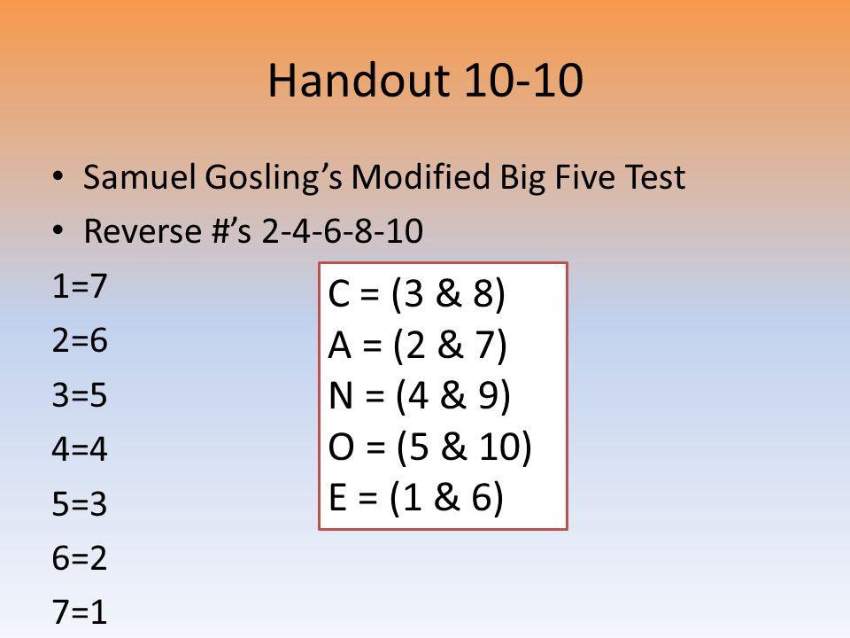 Handout 10-10 Samuel Gosling's Modified Big Five Test Reverse #'s 2-4-6-8-10 1=7 2=6 3=5 4=4 5=3 6=2 7=1 C = (3 & 8) A = (2 & 7) N = (4 & 9) O = (5 & 10) E = (1 & 6)