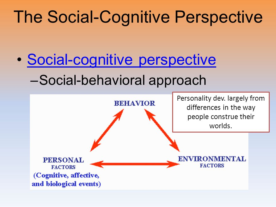 The Social-Cognitive Perspective Social-cognitive perspective –Social-behavioral approach Personality dev. largely from differences in the way people