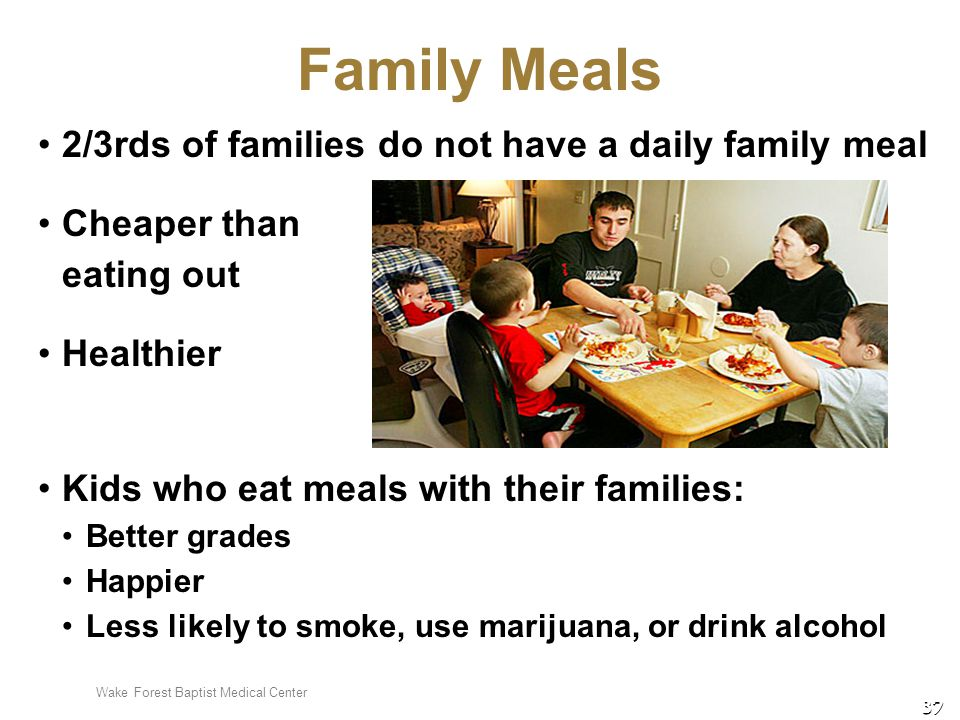 Wake Forest Baptist Medical Center 37 Family Meals 2/3rds of families do not have a daily family meal Cheaper than eating out Healthier Kids who eat m