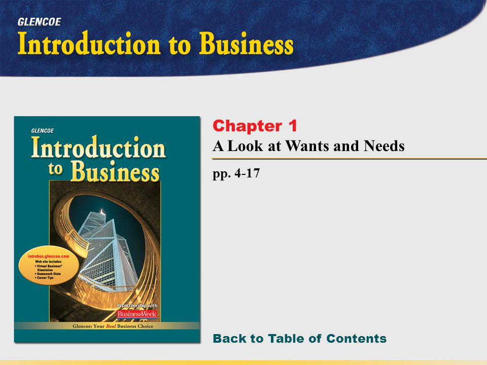 Back to Table of Contents pp. 4-17 Chapter 1 A Look at Wants and Needs