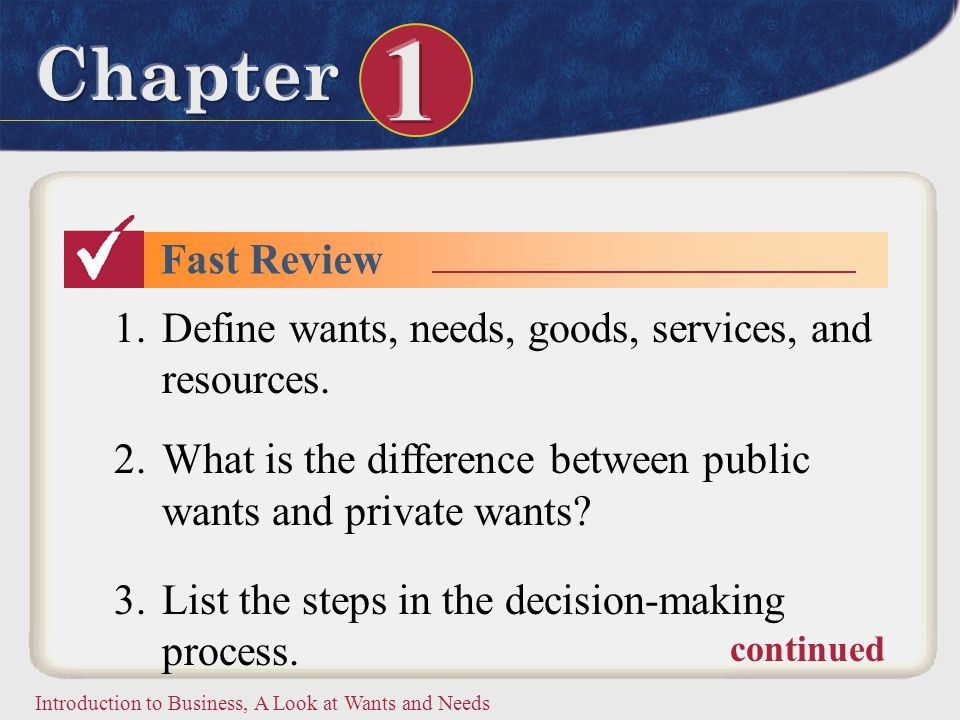 Introduction to Business, A Look at Wants and Needs Fast Review 1.Define wants, needs, goods, services, and resources. 2.What is the difference betwee