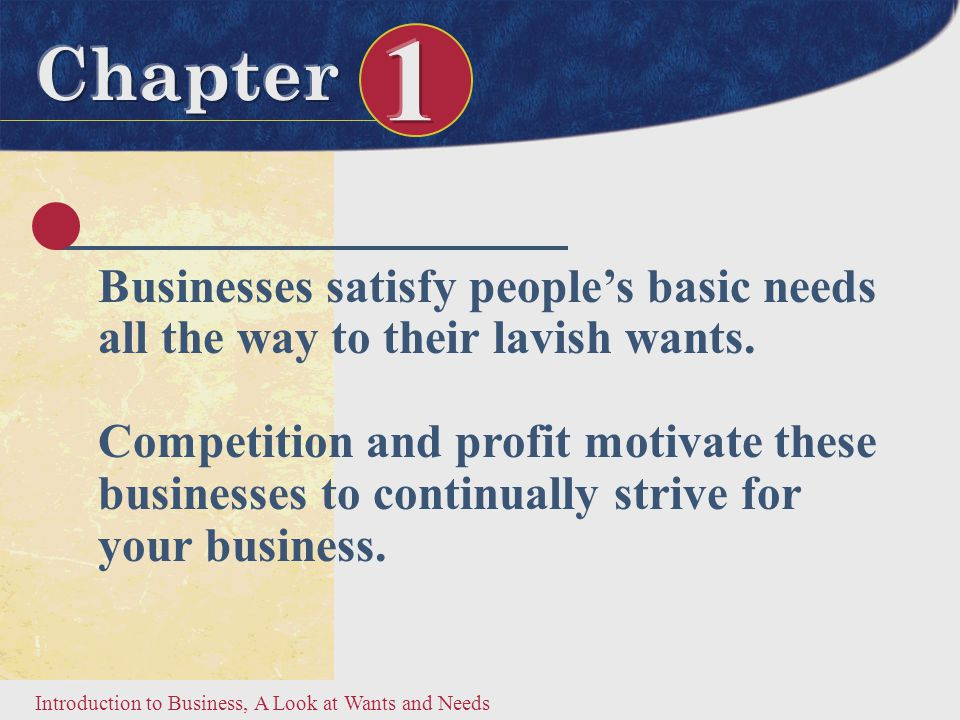 Introduction to Business, A Look at Wants and Needs What Do You Like.