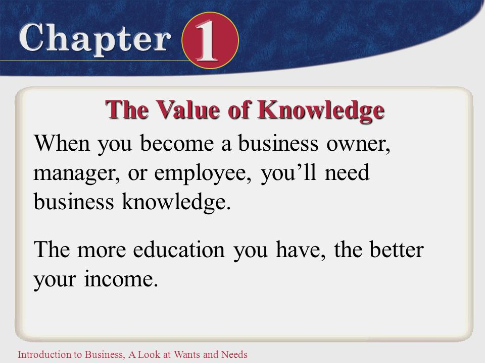 Introduction to Business, A Look at Wants and Needs The Value of Knowledge When you become a business owner, manager, or employee, you'll need busines