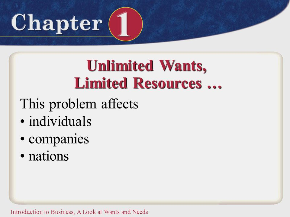 Introduction to Business, A Look at Wants and Needs Unlimited Wants, Limited Resources … Limited Resources … This problem affects individuals companie