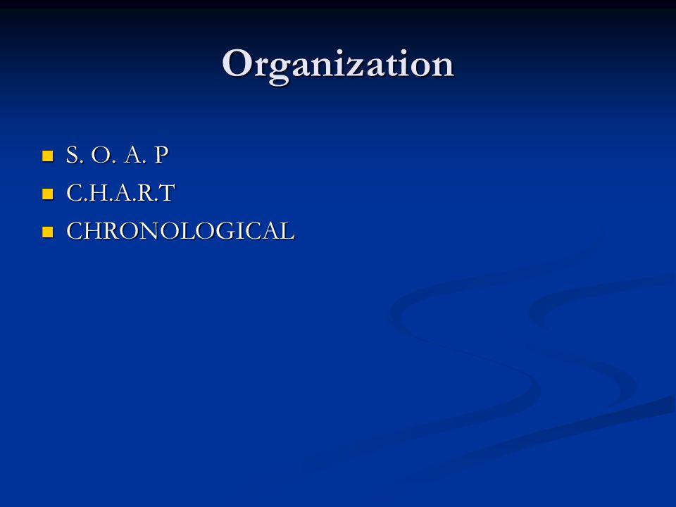 Organization S. O. A. P S. O. A. P C.H.A.R.T C.H.A.R.T CHRONOLOGICAL CHRONOLOGICAL