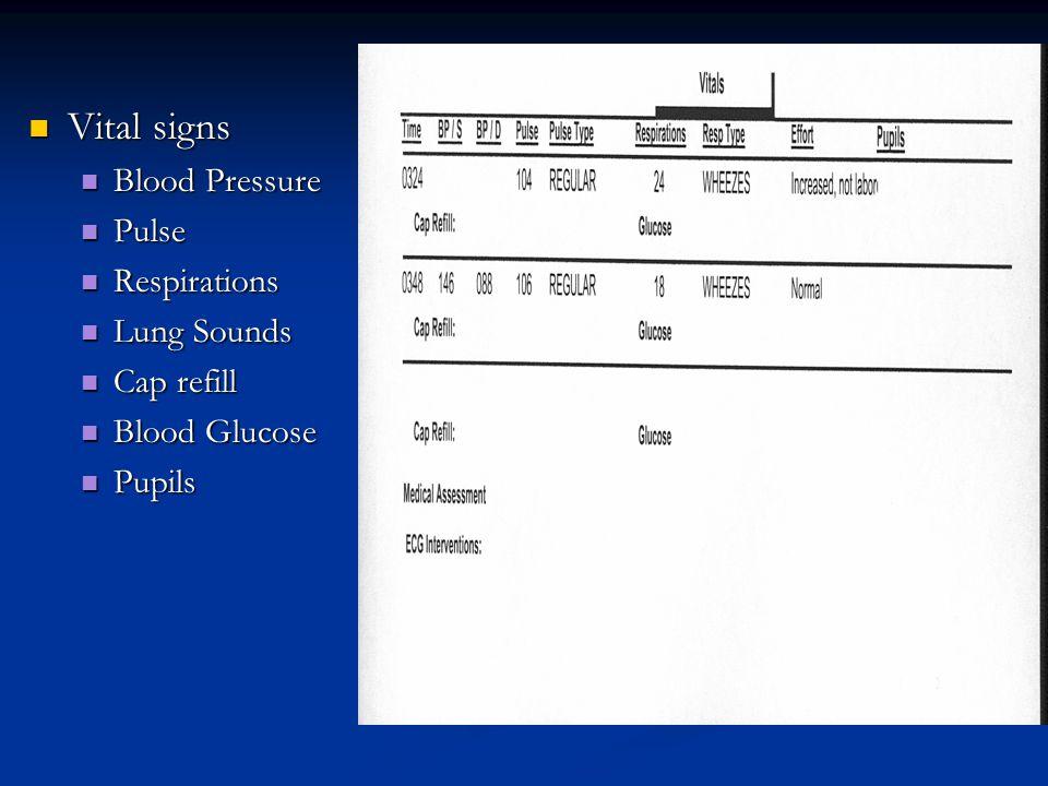 Vital signs Vital signs Blood Pressure Blood Pressure Pulse Pulse Respirations Respirations Lung Sounds Lung Sounds Cap refill Cap refill Blood Glucose Blood Glucose Pupils Pupils