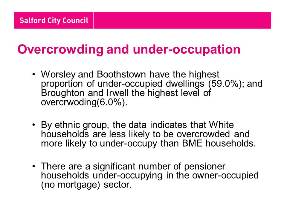 Overcrowding and under-occupation Worsley and Boothstown have the highest proportion of under-occupied dwellings (59.0%); and Broughton and Irwell the highest level of overcrwoding(6.0%).
