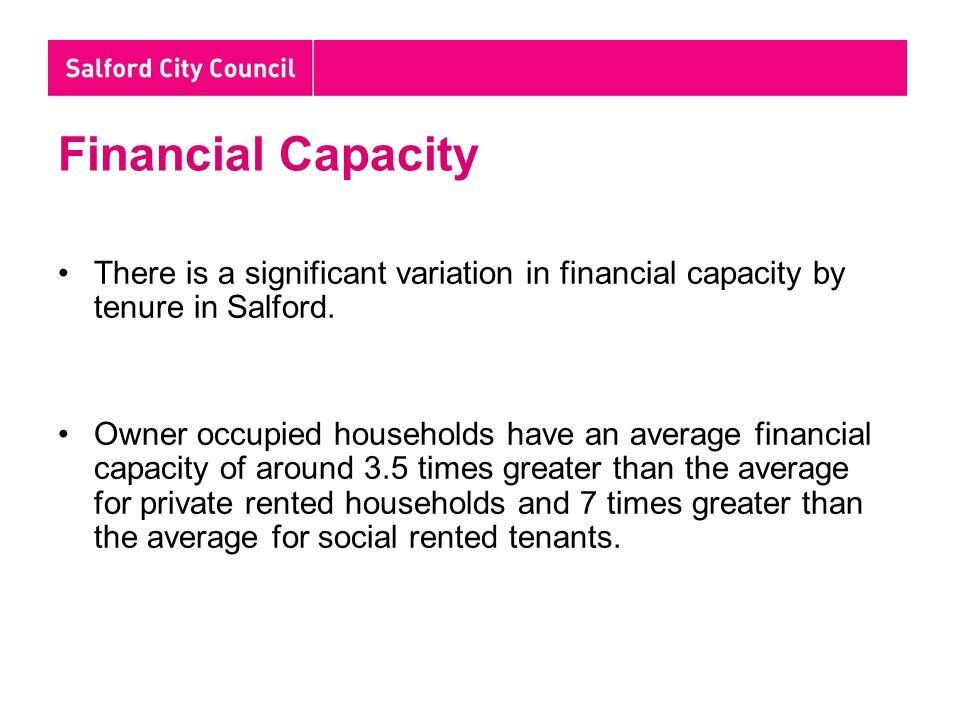 Financial Capacity There is a significant variation in financial capacity by tenure in Salford.
