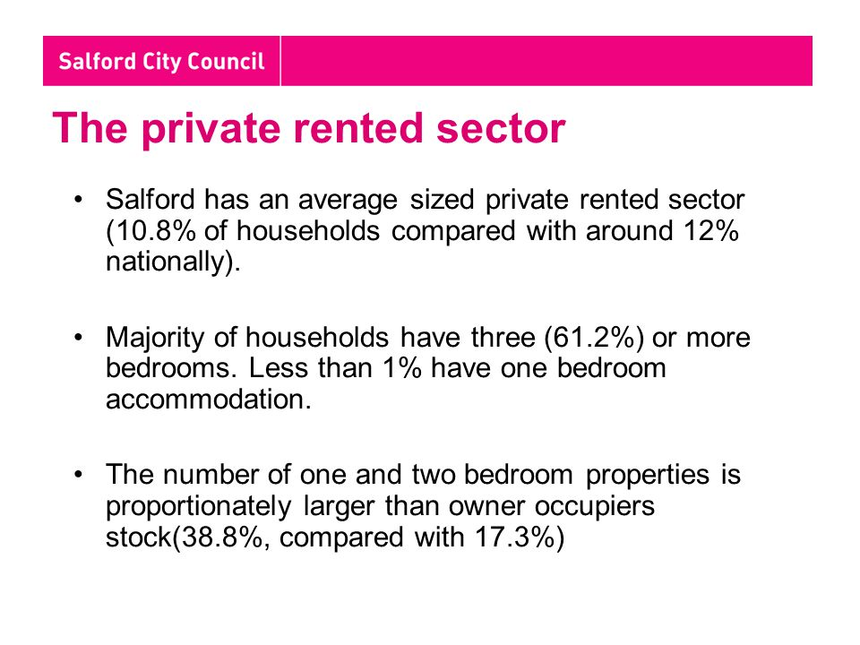 The private rented sector Salford has an average sized private rented sector (10.8% of households compared with around 12% nationally).