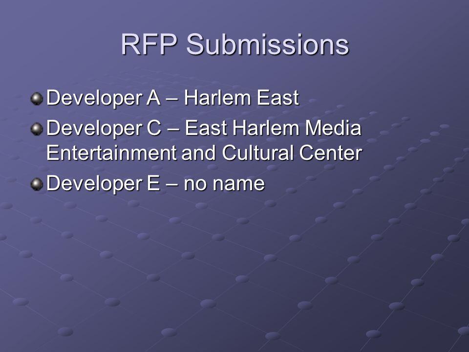 RFP Submissions Developer A – Harlem East Developer C – East Harlem Media Entertainment and Cultural Center Developer E – no name