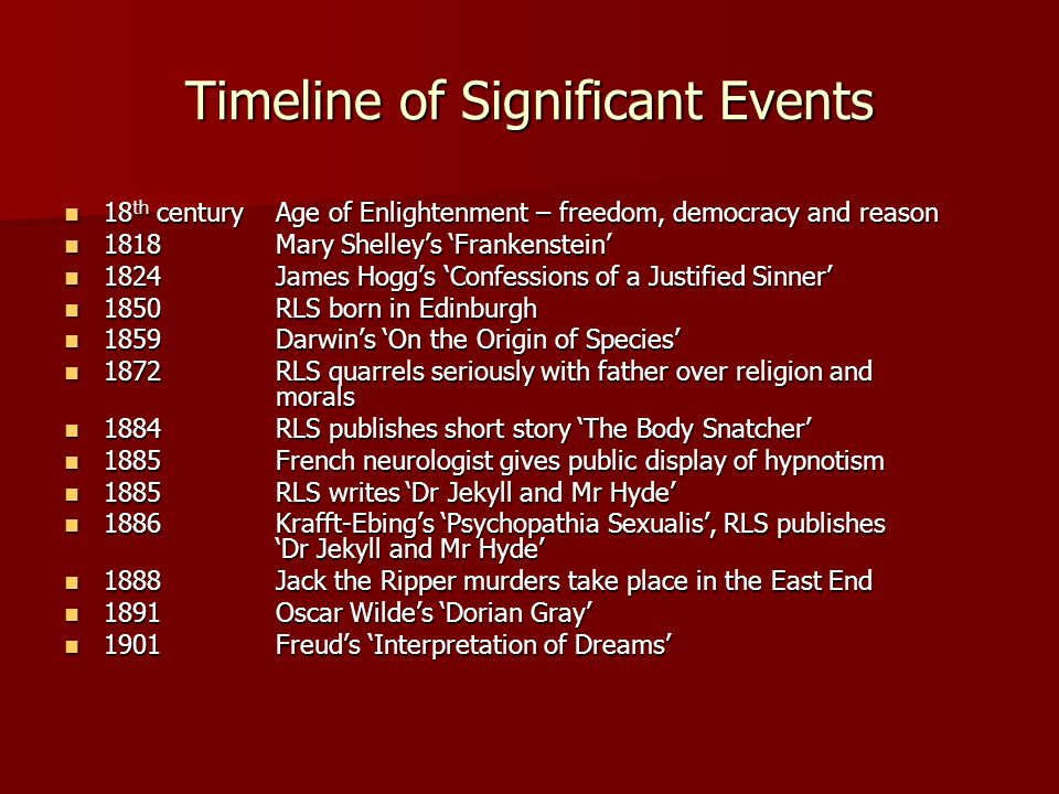 Timeline of Significant Events 18 th centuryAge of Enlightenment – freedom, democracy and reason 18 th centuryAge of Enlightenment – freedom, democracy and reason 1818Mary Shelley's 'Frankenstein' 1818Mary Shelley's 'Frankenstein' 1824James Hogg's 'Confessions of a Justified Sinner' 1824James Hogg's 'Confessions of a Justified Sinner' 1850RLS born in Edinburgh 1850RLS born in Edinburgh 1859Darwin's 'On the Origin of Species' 1859Darwin's 'On the Origin of Species' 1872RLS quarrels seriously with father over religion and morals 1872RLS quarrels seriously with father over religion and morals 1884RLS publishes short story 'The Body Snatcher' 1884RLS publishes short story 'The Body Snatcher' 1885French neurologist gives public display of hypnotism 1885French neurologist gives public display of hypnotism 1885RLS writes 'Dr Jekyll and Mr Hyde' 1885RLS writes 'Dr Jekyll and Mr Hyde' 1886Krafft-Ebing's 'Psychopathia Sexualis', RLS publishes 'Dr Jekyll and Mr Hyde' 1886Krafft-Ebing's 'Psychopathia Sexualis', RLS publishes 'Dr Jekyll and Mr Hyde' 1888Jack the Ripper murders take place in the East End 1888Jack the Ripper murders take place in the East End 1891Oscar Wilde's 'Dorian Gray' 1891Oscar Wilde's 'Dorian Gray' 1901Freud's 'Interpretation of Dreams' 1901Freud's 'Interpretation of Dreams'
