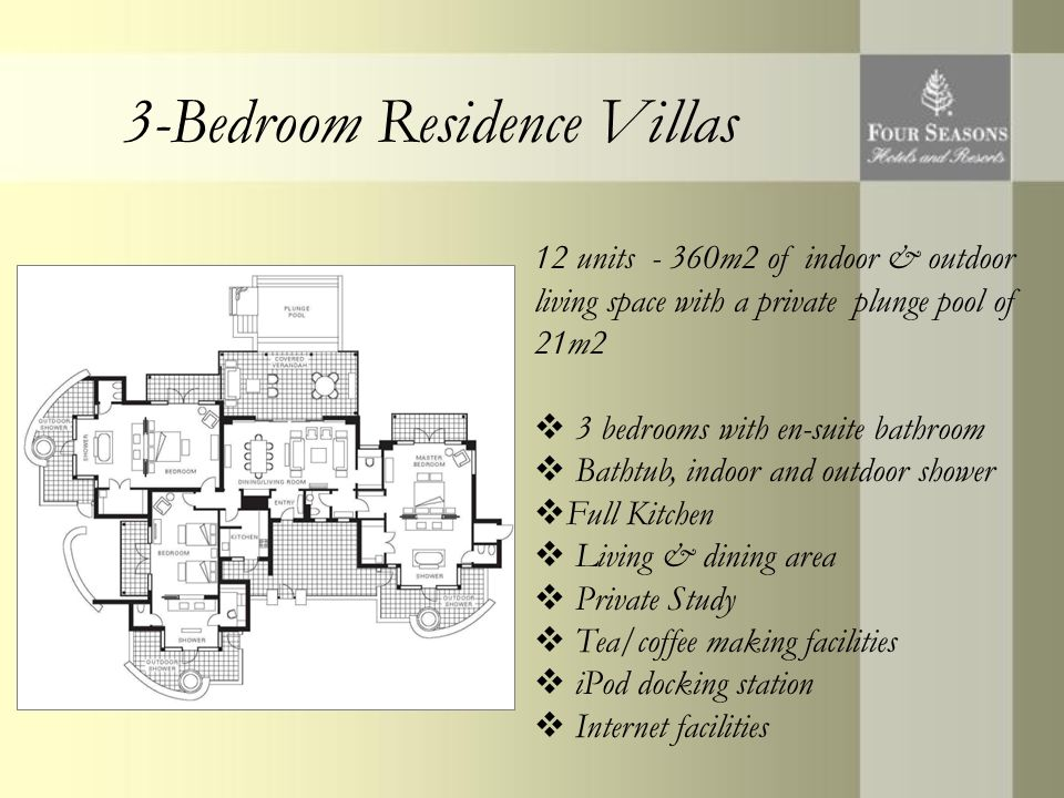 3-Bedroom Residence Villas 12 units - 360m2 of indoor & outdoor living space with a private plunge pool of 21m2  3 bedrooms with en-suite bathroom  Bathtub, indoor and outdoor shower  Full Kitchen  Living & dining area  Private Study  Tea/coffee making facilities  iPod docking station  Internet facilities