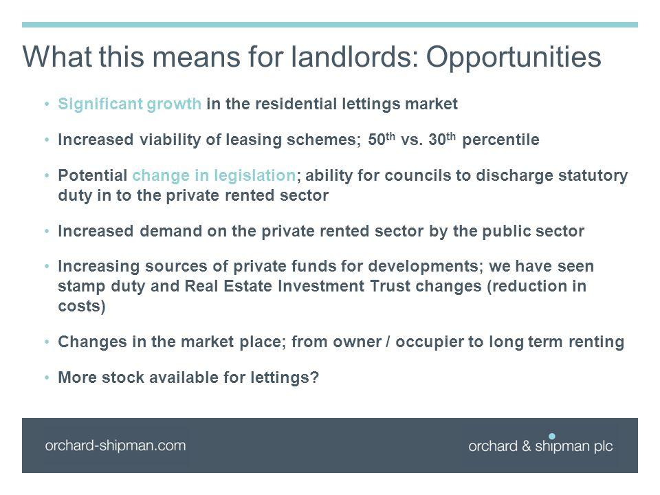 What this means for landlords: Opportunities Significant growth in the residential lettings market Increased viability of leasing schemes; 50 th vs. 3