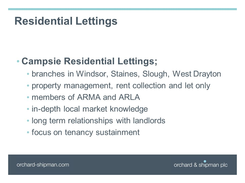 Residential Lettings Campsie Residential Lettings; branches in Windsor, Staines, Slough, West Drayton property management, rent collection and let onl