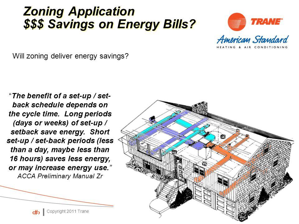 Copyright 2011 Trane 31 Zoning Application $$$ Savings on Energy Bills.