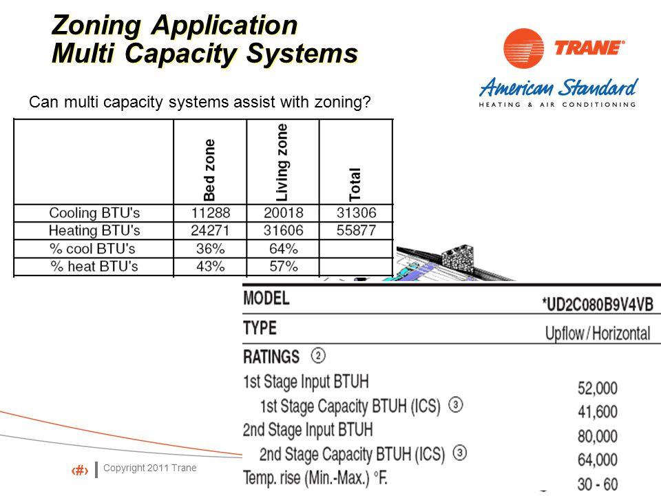 Copyright 2011 Trane 35 Zoning Application Multi Capacity Systems Zoning Application Multi Capacity Systems Can multi capacity systems assist with zoning?
