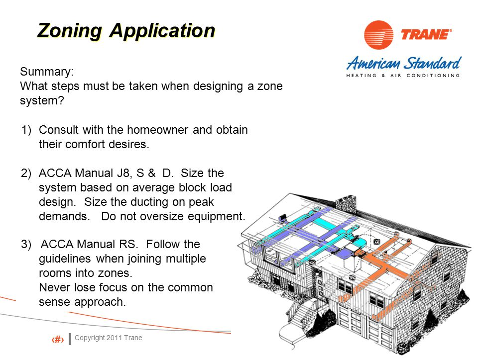 Copyright 2011 Trane 73 Zoning Application Summary: What steps must be taken when designing a zone system.
