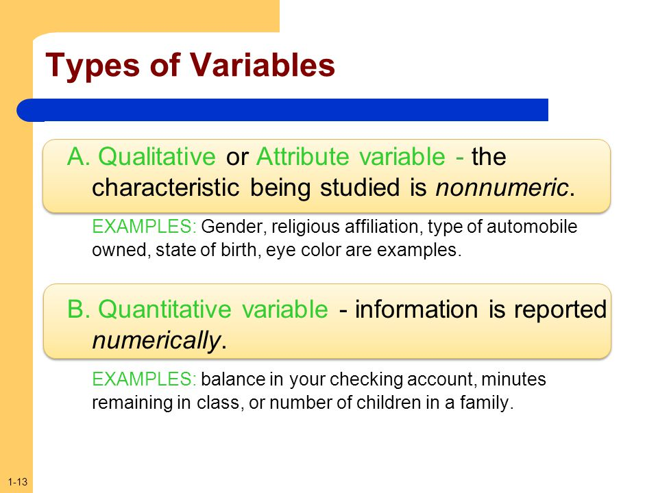 1-13 Types of Variables A. Qualitative or Attribute variable - the characteristic being studied is nonnumeric. EXAMPLES: Gender, religious affiliation