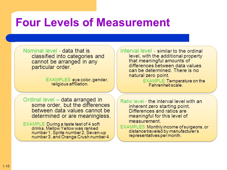 1-16 Four Levels of Measurement Nominal level - data that is classified into categories and cannot be arranged in any particular order. EXAMPLES: eye