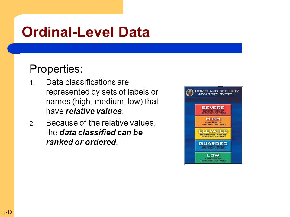 1-18 Ordinal-Level Data Properties: 1. Data classifications are represented by sets of labels or names (high, medium, low) that have relative values.