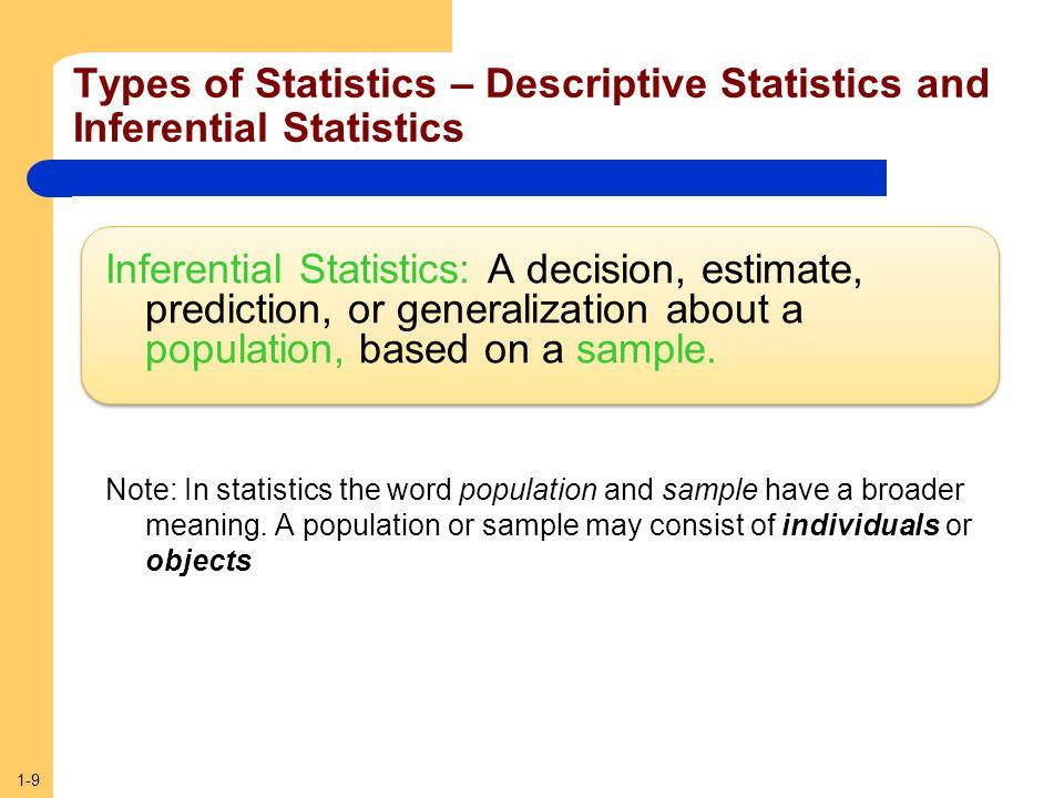 1-9 Types of Statistics – Descriptive Statistics and Inferential Statistics Inferential Statistics: A decision, estimate, prediction, or generalizatio