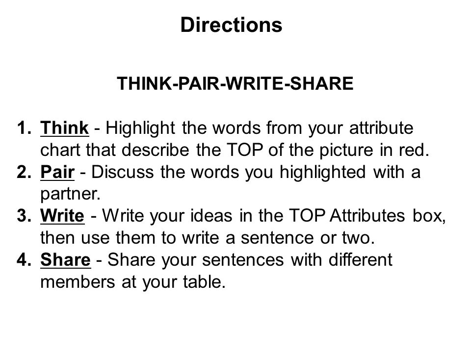 Directions THINK-PAIR-WRITE-SHARE 1.Think - Highlight the words from your attribute chart that describe the TOP of the picture in red.