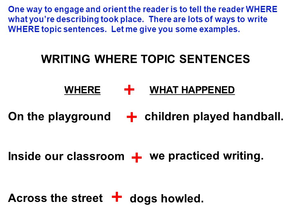 One way to engage and orient the reader is to tell the reader WHERE what you're describing took place.