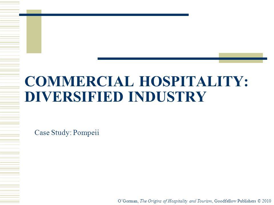 O'Gorman, The Origins of Hospitality and Tourism, Goodfellow Publishers © 2010 COMMERCIAL HOSPITALITY: DIVERSIFIED INDUSTRY Case Study: Pompeii