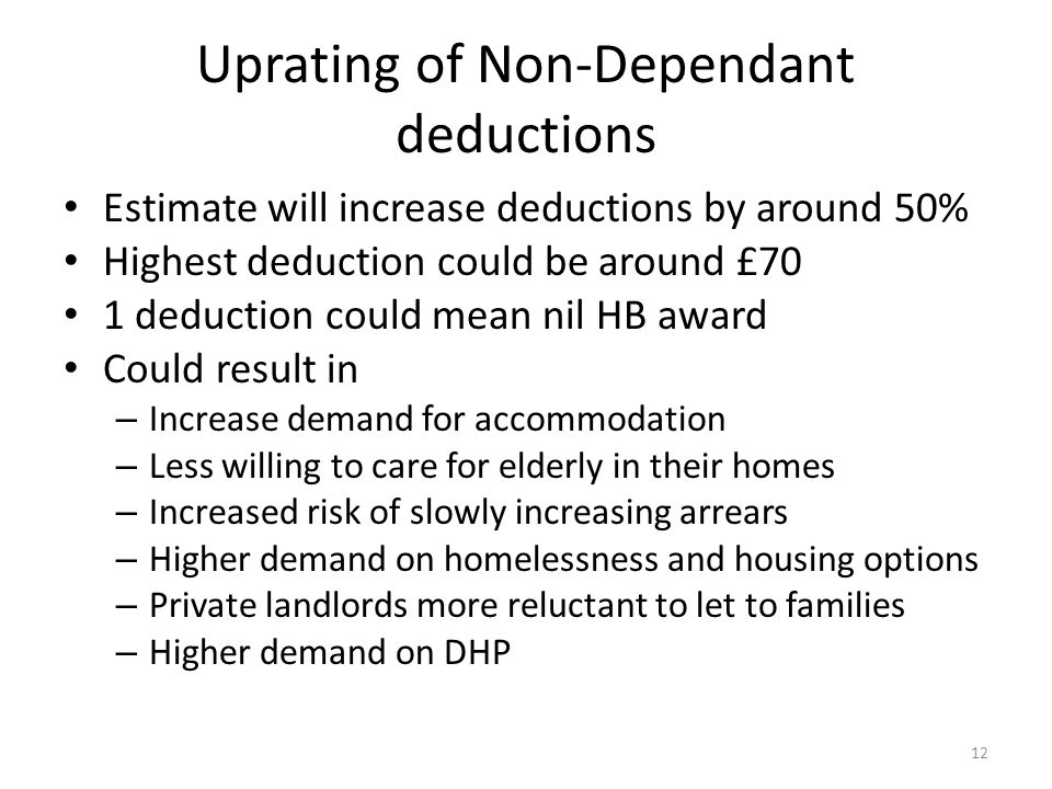 Uprating of Non-Dependant deductions Estimate will increase deductions by around 50% Highest deduction could be around £70 1 deduction could mean nil HB award Could result in – Increase demand for accommodation – Less willing to care for elderly in their homes – Increased risk of slowly increasing arrears – Higher demand on homelessness and housing options – Private landlords more reluctant to let to families – Higher demand on DHP 12