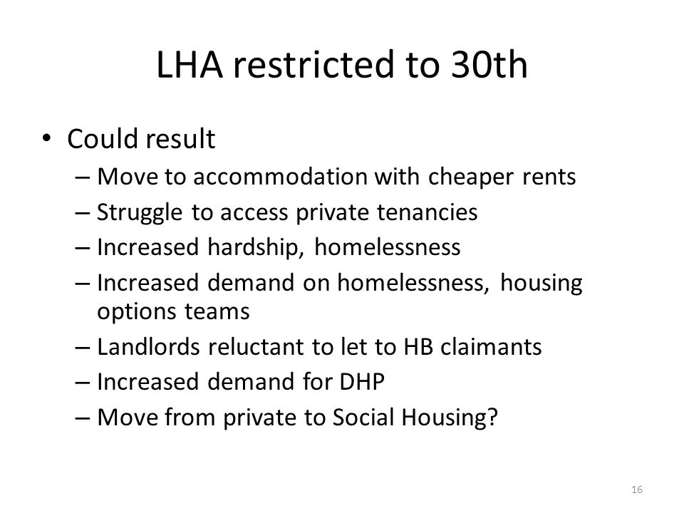 LHA restricted to 30th Could result – Move to accommodation with cheaper rents – Struggle to access private tenancies – Increased hardship, homelessness – Increased demand on homelessness, housing options teams – Landlords reluctant to let to HB claimants – Increased demand for DHP – Move from private to Social Housing.